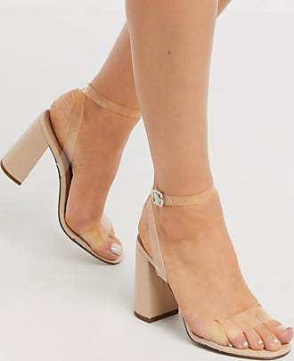 New Look clear strap block heeled sandals in oatmeal-Cream