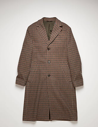Acne Studios FN-MN-OUTW000493 Burgundy/light blue Houndstooth wool-blend coat