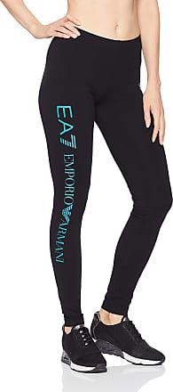 Emporio Armani Womens Train Logo Series Shiny Print Leggings, Black/Biscay Bay, Medium