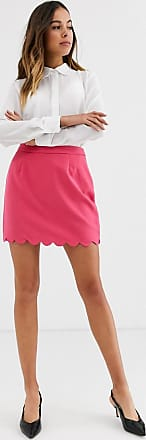 Glamorous mini skirt with scalloped hem-Pink