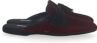 Santoni House Slippers A1647 velvet claret fringes