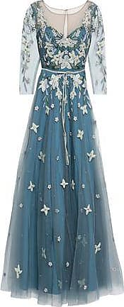 Marchesa Marchesa Notte Woman Embellished Tulle Gown Blue Size 10