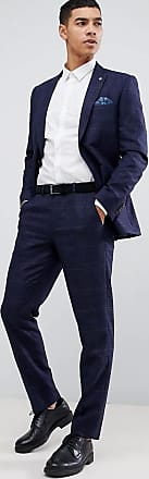 Burton Menswear wedding slim fit check suit trousers in navy