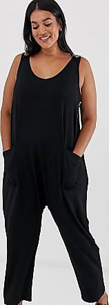 Asos Curve ASOS DESIGN Curve minimal jumpsuit with pockets and side button detail-Black