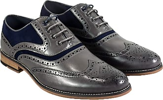 Cavani Mens Ethan Smart Shoes PU Leather Lace Up Brogue, Grey, 10 UK
