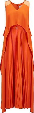 BOSS Hugo Boss Layered crepe maxi dress plissé skirt 0 Orange