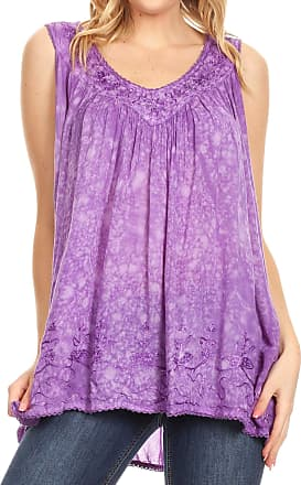 Sakkas 19223 - Milva Womens Casual Loose Sleeveless Tie Dye Printed Tank Top Blouse Tunic - Purple - OS