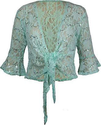 21Fashion Ladies 3/4 Bell Sleeve Sequin Bolero Shrug Womens Night Party Crochet Cardigan Mint Green UK 20-22