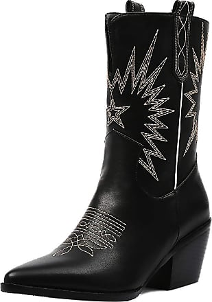 Mediffen Womens Mid Calf Western Heels Pointed Toe Cowboy Boots Black Size 41 Asian