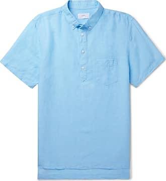 Onia Button-down Collar Slub Linen And Tencel-blend Shirt - Blue