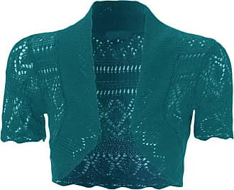 ZEE FASHION Womens New Crochet Front Open Short Sleeve Knitted Bolero Cropped Cardigan Shrug Teal