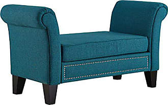 ModWay Modway Rendezvous Upholstered Bench in Teal with Rolled Arms and Nailhead Trim