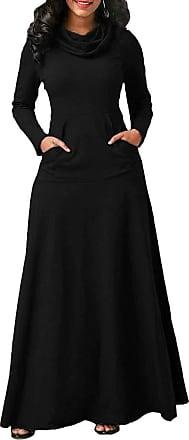 TOMWELL Women Maxi Dress Long Sleeve Baggy Ball Gown Solid Pocket Party Long Dresses Kaftan Black UK 18