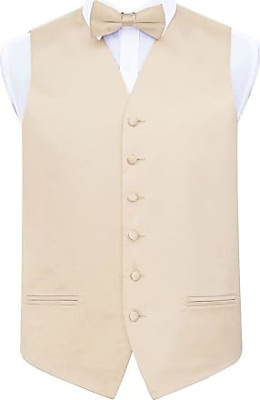 DQT Plain Glossy Satin Wedding Waistcoat, Bow Tie & Pocket Square for Men + Free Cufflinks | Champagne 40