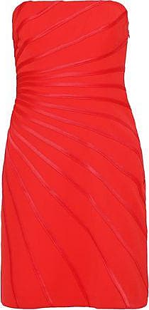 Halston Heritage Halston Heritage Woman Strapless Satin-trimmed Crepe Mini Dress Tomato Red Size 10