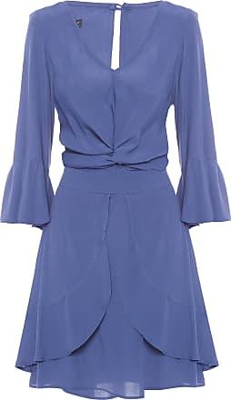 Maria Filó Vestido Curto Faixa Torção - Azul