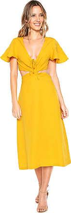 Colcci Vestido Colcci Midi Amarração Amarelo