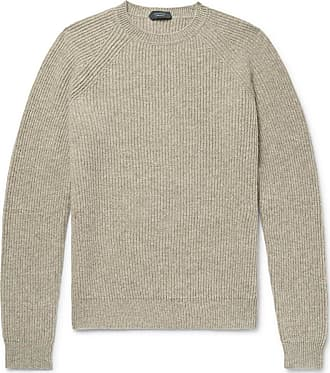 Incotex Ribbed Mélange Virgin Wool Sweater - Mushroom