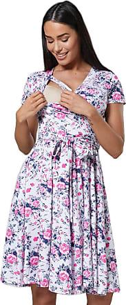 Happy Mama Womens Maternity Midi Skater Dress Nursing Access Short Sleeve.598p (White Pink Flowers, UK 14, XL)