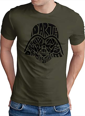 OM3 Vader-Skull - T-Shirt Darth SciFi Dark Side TODESSTERN YODA Jedi Master Stormtrooper Force Geek, XXL, Olive