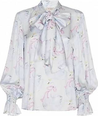 19.04 Swan-printed Blouse With Bow