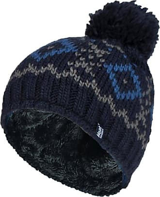Heat Holders Mens Genuine Patterned HEAT HOLDERS Heatweaver Helsinki Pom Pom Hat - 3 COLOURS (Navy - HELSINKI)