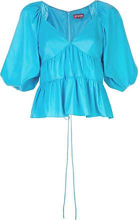 Staud Blusa mangas 3/4 com amarração - Azul