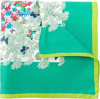 Kiton Lenço de bolso de seda com estampa de borboleta - Verde