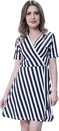 101 Resort Wear Vestido Envelope 101 Resort Wear Meia Manga Evasê Malha Fria Listrado