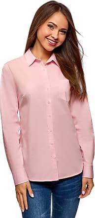 oodji Womens Basic Cotton Shirt, Pink, UK 6 / EU 36 / XS