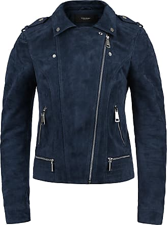 Vero Moda Leda Womens Leather Jacket Biker Jacket Real Leather with Biker Collar, Size:L, Colour:Navy Blazer