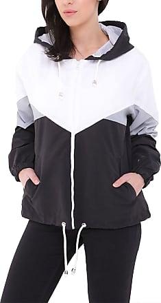 Islander Fashions Ladies Long Sleeve Color Block Jacket Womens Fancy Windbreaker Hooded Coat Top Black X Large