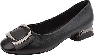 Jamron Womens Fashion Square Toe Chunky Heel Smooth Leather Pumps Shoes Black SN02850 UK4.5