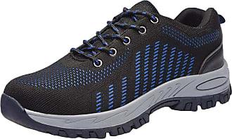 junkai Mens Womens Mesh Safety Trainer Shoes Lightweight Composite Toe Cap Midsole Protection Work Shoes Ankle Hiker Blue