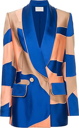 Peter Pilotto Blazer de seda com patchwork - Azul