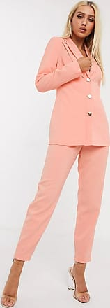 4th & Reckless button detail cigarette trouser in coral-Orange