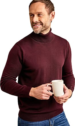 WoolOvers Mens 100% Merino Polo Neck Knitted Sweater Mahogany, XL