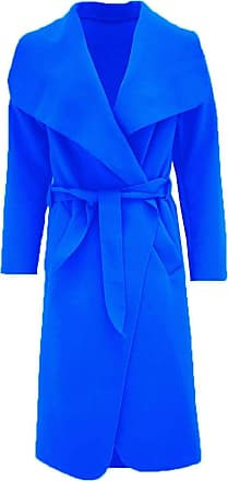 Parsa Fashions Malaika Womens Ladies Waterfall Long Full Sleeves Cape Cardigan Belted Jacket Trench Coat - Available in PLUS SIZES UK 8-20 (Plus Size (16-18), Royal