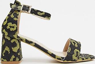 Glamorous Schuhe mit Blockabsatz und hellem Leopardenmuster-Gelb