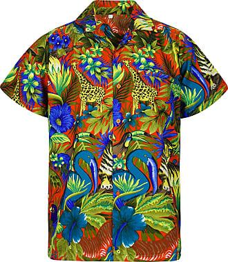V.H.O. Funky Hawaiian Shirt, Shortsleeve, Jungle, Orange, XL