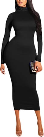 Generic Womens Silm Fit Solid Color Long-Sleeves Zipper Up Turtle Neck One Step Dresses Black S