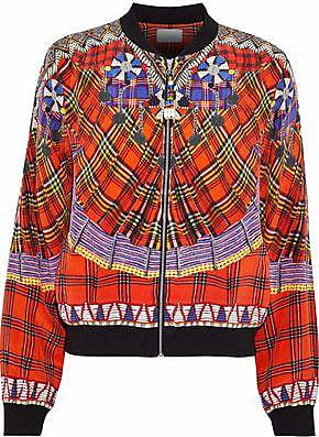 6a634e33472d Camilla Camilla Woman Bead-embellished Printed Silk Bomber Jacket Red Size  10