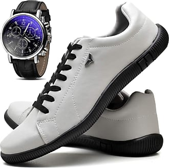 Juilli Kit Sapatênis Sapato Casual Masculino Com Relógio JUILLI 920DB Tamanho:43;cor:Branco;gênero:Masculino