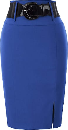 Belle Poque Women Casual Ladies Workwear Solid Color Pencil Skirts Royal Blue(762-7) XX-Large