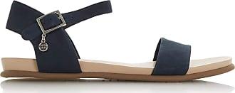 Dune London Dune Ladies Womens LONDONERR Two Part Flat Sandals Size UK 6 Navy Flat Heel Flat Sandals