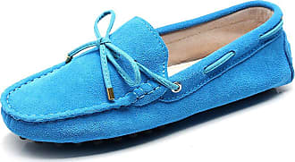 Jamron Womens Classic Suede Bow Tie Loafers Comfort Handmade Slipper Moccasins SkyBlue 24208-2 UK5.5