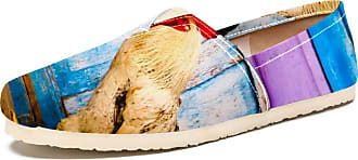 Tizorax Rooster Mens Slip on Loafers Shoes Casual Canvas Flat Boat Shoe