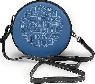 Turfed Small Icon Print Round Crossbody Bags Women Shoulder Bag Adjustable PU Leather Chain Strap and Top Zipper Small Handbag Handle Tote