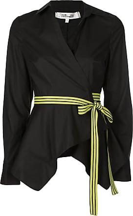 Diane Von Fürstenberg Leah asymmetrical wrap shirt - Preto
