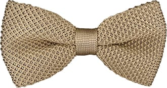 TigerTie High quality TigerTie knit bow tie in beige monochrome + Aufbewahrungsbox - bow tie 30 cm bis 55 cm adjustable